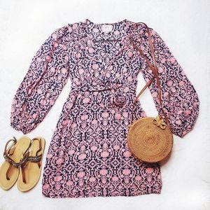 Banjanan | Pink/ Blue V-neck Mini Dress